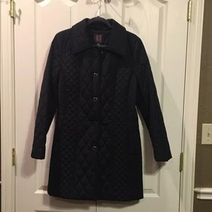 ANNE KLEIN BLACK QUILTED COAT - M